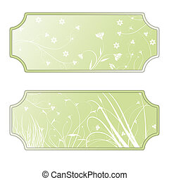 Labels with flourishes, green, white
