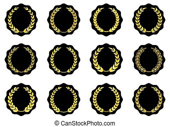 Labels with golden laurel wreaths