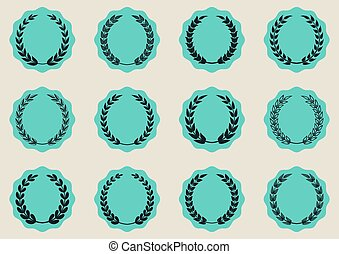 Labels with laurel wreaths