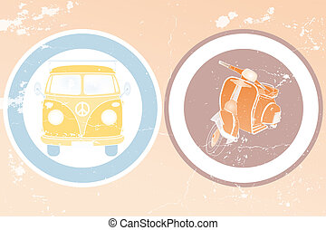 Labels with retro van and retro scooter in vintage design -...