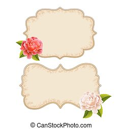 Labels with roses pink and white
