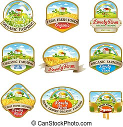Labels with the image of a lovely farm