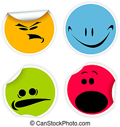 Labels with various smiles - Set of colorful labels with...