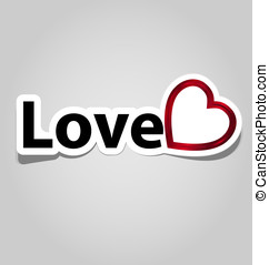 Label/sticker with love word and symbol for multipurpose use in design