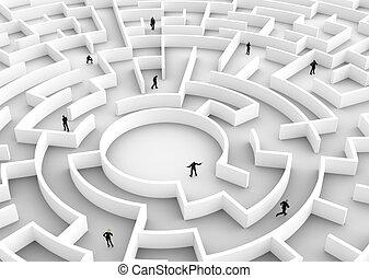 laberinto, empresa / negocio, gente,  -, solución, competición, Uno, ganador, descubrimiento
