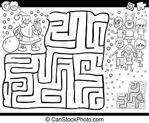 laberinto, juego, color, libro, con, santa claus