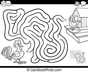 laberinto, juego, libro colorear, con, gallo, y, gallina