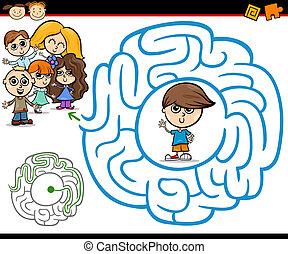 laberinto, laberinto, juego, caricatura, o