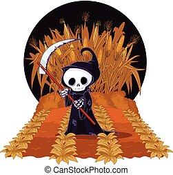 laberinto, maíz, segadora, severo