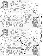 laberinto, osos