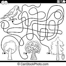 laberinto, página, pájaro carpintero, árboles, colorido