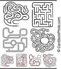 laberintos, laberintos, conjunto, o, diagramas