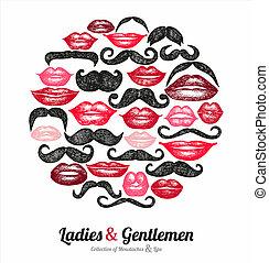 labios, colección, moustaches