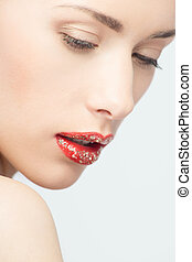 labios, de, joven, rubio, mujer, con, moda, brillar, destello