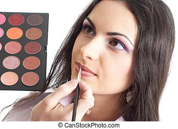 labios, maquillaje, ser aplicable