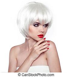 labios rojos, y, manicured, nails., moda, elegante, belleza, retrato de mujer, con, blanco, cortocircuito, hair., moda, estilo, woman., hairstyle.