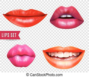 labios, transparente, conjunto