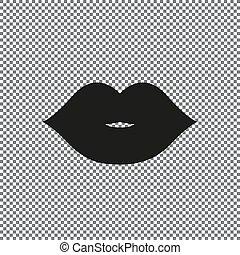labios, vector, icono