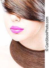 labios, y, pelo