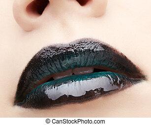 labios, zona, maquillaje