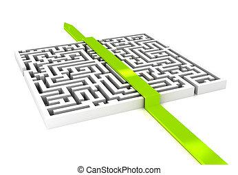 labirinth, aus, weißer hintergrund, pfeil
