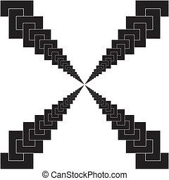 labirinth, blanc, chaînes, isolé, perspective