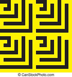 labirinth, noir, spyral, jaune, x4