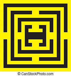 labirinth, symetrical, noir, spyral, jaune