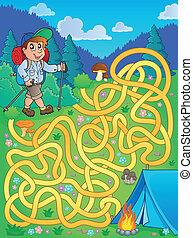 labirinto, 1, con, escursionista, esterno