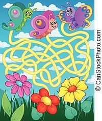 labirinto, 22, con, farfalle
