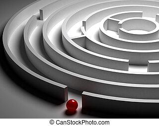 labirinto, 3d, circolare