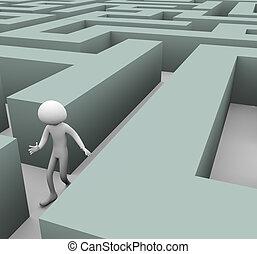 labirinto, 3d, homem perdido