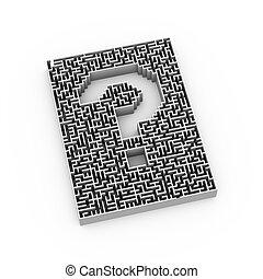 labirinto, 3d, punto interrogativo