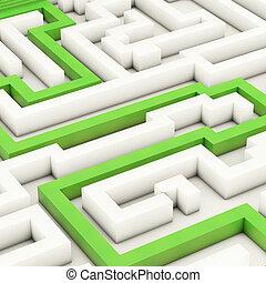labirinto, -, 3d, reso, illustrazione