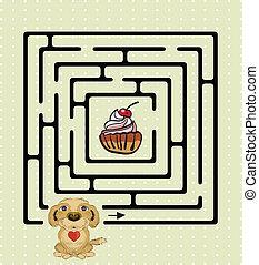labirinto, abstratos, cão, cute