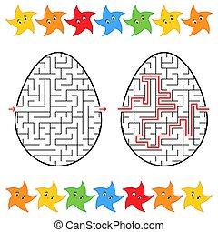 labirinto, appartamento, vettore, forma, stars., semplice, astratto, isolato, illustrazione, fondo., gioco, answer., nero, stroke., egg., children., bianco, bello