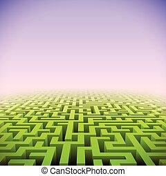 labirinto, astratto, verde, prospettiva