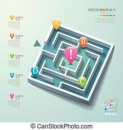 labirinto, astratto, vettore, 3d, infographics