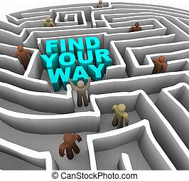 labirinto, através, seu, maneira, achar