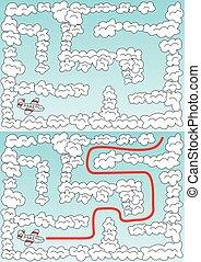 labirinto, avião, fácil