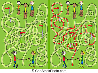 labirinto, bambini, felice