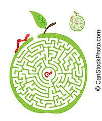 labirinto, banana., vettore, scimmia, labirinto