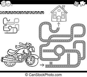labirinto, bicicleta, coloração