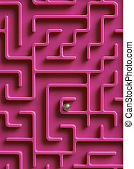 labirinto, bola, centro