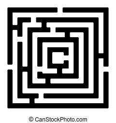 labirinto, branca, izolated, retângulo