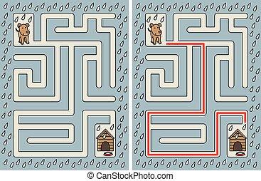 labirinto, cão, fácil