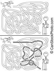 labirinto, cachorro guia
