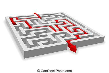 labirinto, caminho, através, vermelho