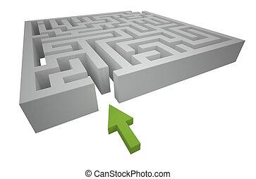labirinto, caminho, começando, através