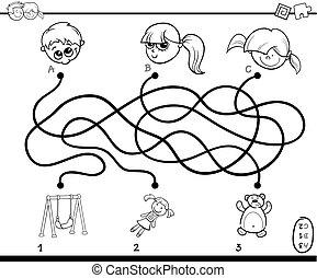 labirinto, caminhos, atividade, coloração, página